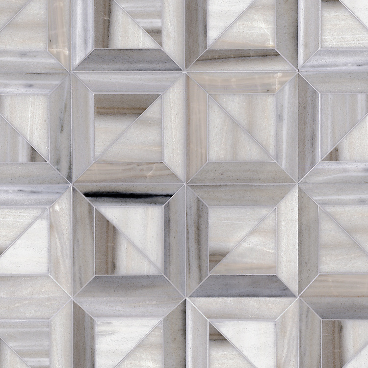 Newman, a hand-cut stone mosaic, shown in Horizon honed, is part of the Parquet Line by New Ravenna.