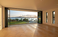 BNPS.co.uk (01202 558833)<br /> Pic: LillicrapChilcott/BNPS<br /> <br /> Blank canvas...<br /> <br /> A brand new futuristic property perched right on the edge of a sea wall overlooking some of the finest sailing waters in the country has gone up for sale for £4.5m.<br /> <br /> The ultra-modern home and just been built on remote headland in the Cornish sailing village of St Just.<br /> <br /> It replaced a large bungalow that stood on the coastal plot for over 80 years and was demolished by owner and architect Callum Wason.