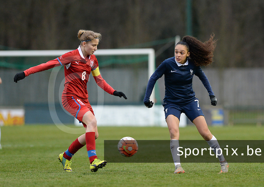 20160319 - FLERS , FRANCE : French Lena Boussaha (R) and Czech Kamila Dubcova (L) pictured during the soccer match between the women under 17 teams of  France and the Czech Republic , on the first matchday in group 3 of the UEFA Women Under17 Elite rounds at Stade du Haze in Flers , France . Saturday 19th March 2016 . PHOTO DAVID CATRY