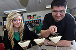 Careers Wales.Chef Massimo Bishop-Scotti with Anna Carlyon at Mountain Ash Comprehensive School during a cookery demonstration...07.03.12.©STEVE POPE