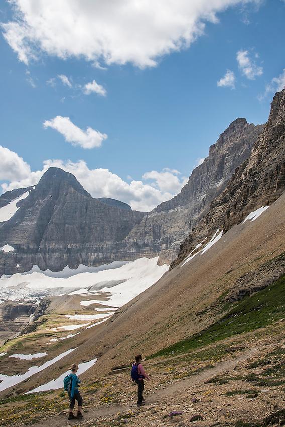 Hiking the Siyeh Pass Trail at Glacier National Park Montana.