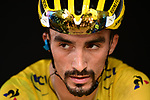 Race leader Julian Alaphilippe (FRA) Deceuninck-Quick Step retains the Yellow Jersey as he crosses the finish line in 11th place at the end of Stage 15 of the 2019 Tour de France running 185km from Limoux to Foix Prat d'Albis, France. 20th July 2019.<br /> Picture: ASO/Alex Broadway | Cyclefile<br /> All photos usage must carry mandatory copyright credit (© Cyclefile | ASO/Alex Broadway)