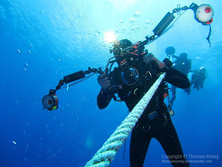 Orchid Island (蘭嶼), Taiwan -- Underwater photographer ascending from Ba Dai Wreck (八代沉船)