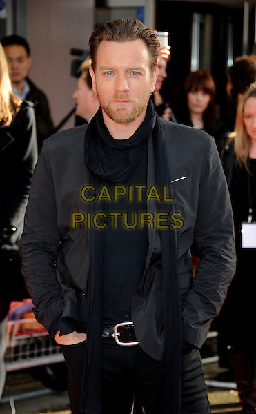 Ewan McGregor.'Salmon Fishing in the Yemen' European premiere at the Odeon cinema, Kensington, London, England..10th April 2012 .half length grey gray jacket black scarf beard facial hair .CAP/WIZ.© Wizard/Capital Pictures.
