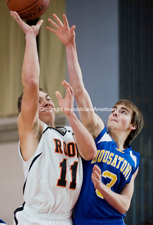 PLYMOUTH, CT--03 January 08--010308TJ01 - Housatonic's Jan Coe (3) tries to block a shot by Terryville's Kevin Larose (11) during Terryville High School's 68-30 victory over Housatonic Valley Regional High School on Thursday, January 3, 2008. T.J. Kirkpatrick/Republican-American