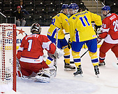 Filip Novotny (Czech Republic - 1), Oscar Lindberg (Sweden - 28), Martin Karlsson (Sweden - 11), Ondrej Dolezal (Czech Republic - 26) - Sweden defeated the Czech Republic 4-2 at the Urban Plains Center in Fargo, North Dakota, on Saturday, April 18, 2009, in their final match of the 2009 World Under 18 Championship.