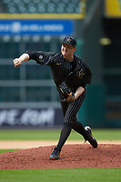 Vanderbilt Commodores starting pitcher Drake Fellows (66) follows through on his delivery against the Sam Houston State Bearkats in game one of the 2018 Shriners Hospitals for Children College Classic at Minute Maid Park on March 2, 2018 in Houston, Texas. The Bearkats walked-off the Commodores 7-6 in 10 innings.   (Brian Westerholt/Four Seam Images)