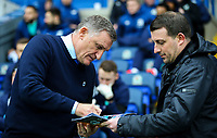 Blackburn Rovers manager Tony Mowbray sings an autograph before kick off<br /> <br /> Photographer Alex Dodd/CameraSport<br /> <br /> The EFL Sky Bet Championship - Blackburn Rovers v Hull City - Saturday 26th January 2019 - Ewood Park - Blackburn<br /> <br /> World Copyright © 2019 CameraSport. All rights reserved. 43 Linden Ave. Countesthorpe. Leicester. England. LE8 5PG - Tel: +44 (0) 116 277 4147 - admin@camerasport.com - www.camerasport.com
