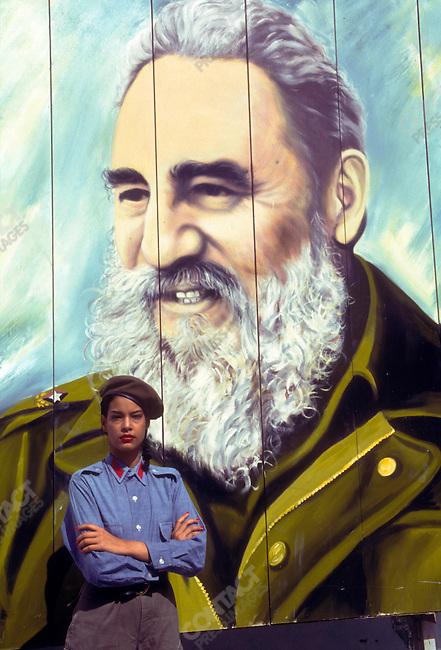 A mural of Fidel Castro, President of Cuba, 1989<br />