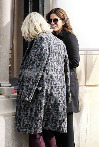 NEW YORK, NY - DECEMBER 2: Cate Blanchett and Sandra Bullock on the set of Ocean's 8 in New York City on December 2, 2016. Credit: RW/MediaPunch