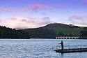 02/10/16 <br /> <br /> After a cold night a fisherman casts into Ladybower Reservoir in the Derbyshire Peak District this morning. <br /> <br /> All Rights Reserved: F Stop Press Ltd. +44(0)1773 550665   www.fstoppress.com