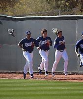 Julio Urias (left), Kenta Maeda (center), Jose De Leon (right) - Los Angeles Dodgers 2016 spring training (Bill Mitchell)