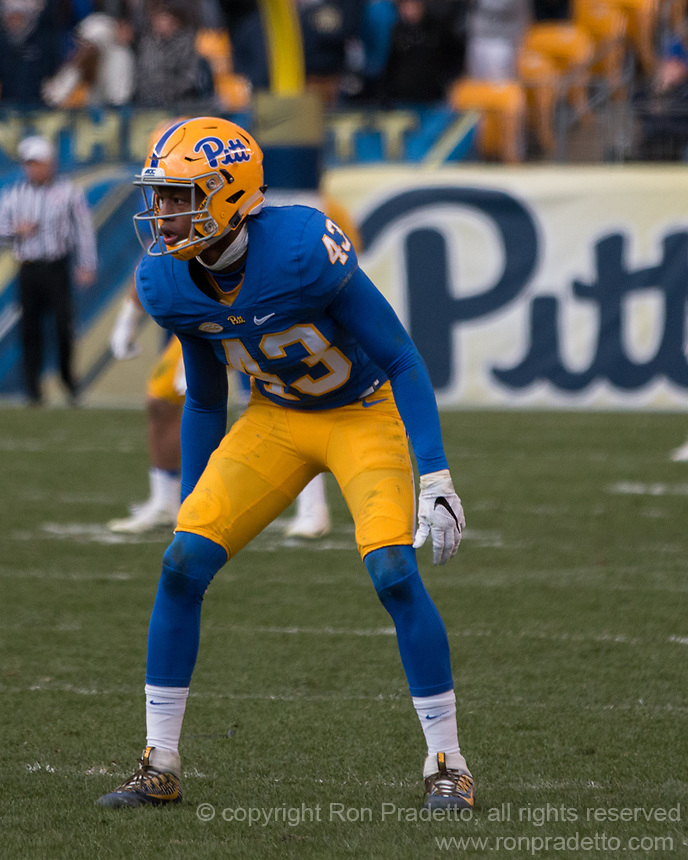 Pitt defensive back Jay Stocker. The Pitt Panther defeated the Duke Blue Devils 56-14 at Heinz Field in Pittsburgh, Pennsylvania on November 19, 2016.