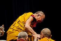 Milano: il Dalai Lama Tenzin Gyatso durante la giornata di preghiera al Forum di Assago..Milan:Dalai Lama Tenzin Gyatso