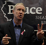 Illinois gubernatorial candidate Bruce Rauner stopped at the Regency Conference Center in O'Fallon as part of a bus trip around the state on Wednesday. Here he talks about incumbent Gov. Quinn, and two federal investigations surrounding him.