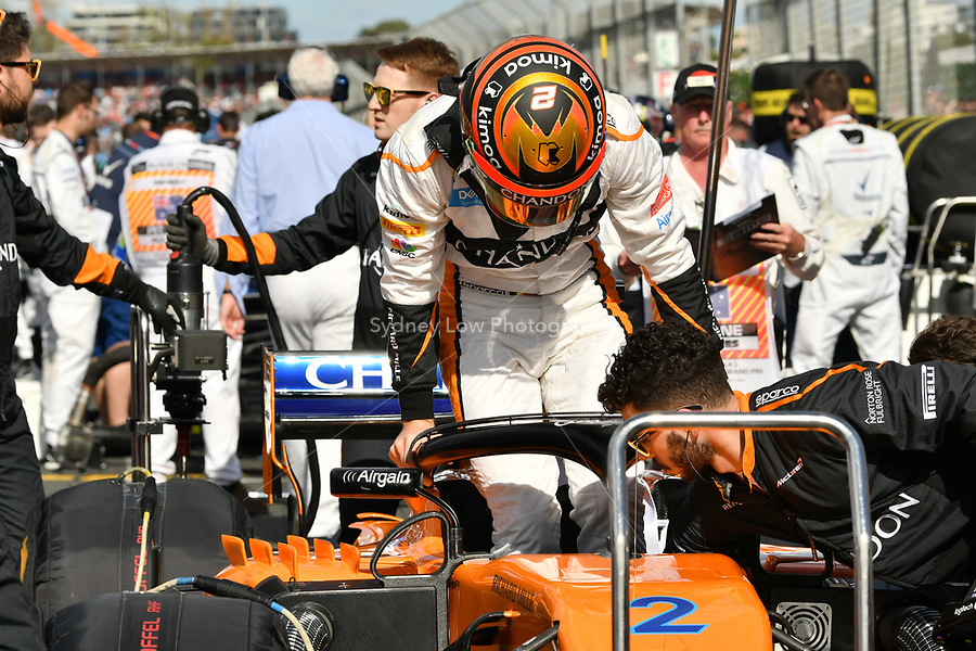 March 25, 2018: Stoffell Vandoorne (BEL) #2 from the McLaren F1 team on the grid prior to the start of the 2018 Australian Formula One Grand Prix at Albert Park, Melbourne, Australia. Photo Sydney Low