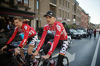 Jelle Vanendert (BEL/Lotto-Belisol) &amp; Tim Wellens (BEL/Lotto-Belisol) to the sign-in<br /> <br /> La Flèche Wallonne 2014