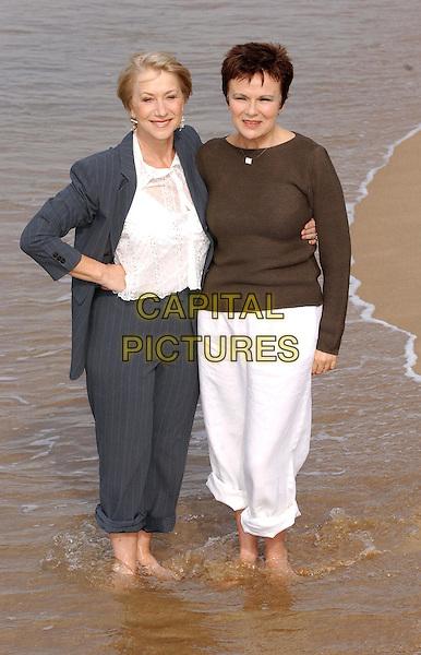 "HELEN MIRREN, JULIE WALTERS.""Calendar Girls"" Photocall, Cannes Beach.Cannes Film Festival 2003.www.capitalpictures.com.sales@capitalpictures.com.©Capital Pictures"