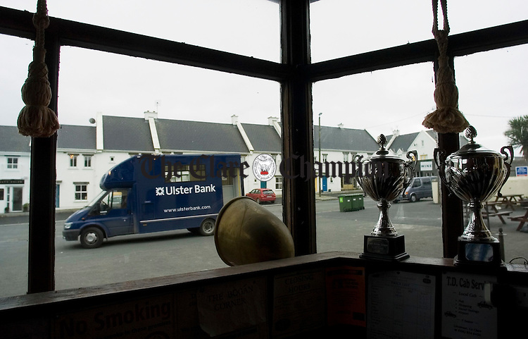 The Ulster Bank mobile unit parked outside Vaughans Bar in Liscannor. Photograph by John Kelly.