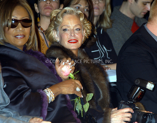 Zang Toi fashion show. Pictured are: Patti Labelle and actress-turned photographer for the moment Farrah Fawcett holding her Olympus digital camera. New York, February 13, 2004. ..Please byline: AJ SOKALNER/ACE Pictures.   ..*PAY-PER-USE*      ....IMPORTANT: Please note that our old trade name, NEW YORK PHOTO PRESS (NYPP), is replaced by new name, ACE PICTURES. New York Photo Press and ACE Pictures are owned by All Celebrity Entertainment, Inc.......All Celebrity Entertainment, Inc:  ..contact: Alecsey Boldeskul (646) 267-6913 ..Philip Vaughan (646) 769-0430..e-mail: info@nyphotopress.com