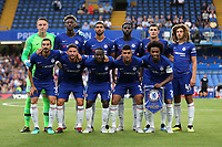 Chelsea FC Team Photo. From left to right (Back Row) Marcin Bulka, Tammy Abraham, Ruben Loftus Cheek, Tiemoue Bakayoko, Andreas Christensen and Ethan Ampadu. From left to right (Front Row) Davide Zappacosta, Danny Drinkwater, Victor Moses, Emerson and Willian during Chelsea vs Lyon, International Champions Cup Football at Stamford Bridge on 7th August 2018