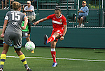 27 August 2011: Philadelphia's Nikki Krzysik (15) blocks a cross by Western New York's Marta (BRA) (10). Western New York Flash defeated the Philadelphia Independence 5-4 on penalty kicks to win the final after the game ended in a 1-1 tie after overtime at Sahlen's Stadium in Rochester, New York in the Women's Professional Soccer championship game.