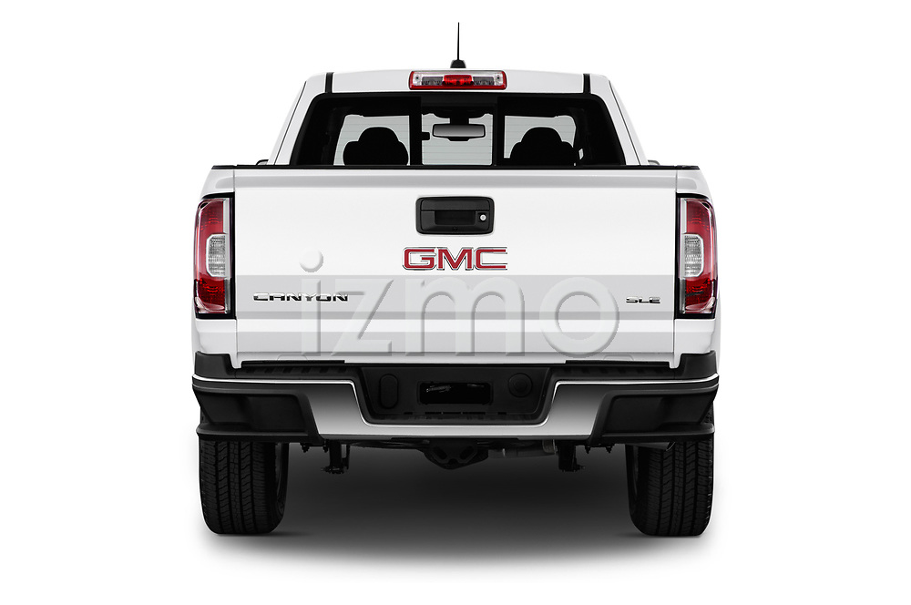 Straight rear view of a 2019 GMC Canyon 4WD SLE Extended Cab 5 Door Pick Up stock images