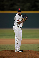 Visalia Rawhide relief pitcher Junior Garcia (29) prepares to deliver a pitch during a California League game against the Stockton Ports at Visalia Recreation Ballpark on May 8, 2018 in Visalia, California. Stockton defeated Visalia 6-2. (Zachary Lucy/Four Seam Images)