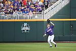 OMAHA, NE - JUNE 26: Greg Deichmann (7) of Louisiana State University catches a fly ball for an out against the University of Florida during the Division I Men's Baseball Championship held at TD Ameritrade Park on June 26, 2017 in Omaha, Nebraska. The University of Florida defeated Louisiana State University 4-3 in game one of the best of three series. (Photo by Justin Tafoya/NCAA Photos via Getty Images)