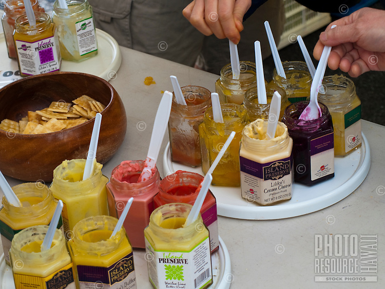 A sampling of tastes, jams and jellies at the Kapiolani Community College Farmers Market.