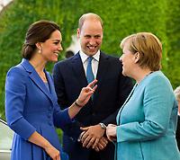 German Chancellor Merkel welcomes Prince William Duke of Cambridge and Catherine Duchess of Cambridg