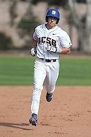 Cameron Newell (12) of the UC Santa Barbara Gauchos runs the bases during a game against the Kentucky Wildcats at Caesar Uyesaka Stadium on March 20, 2015 in Santa Barbara, California. UC Santa Barbara defeated Kentucky, 10-3. (Larry Goren/Four Seam Images)
