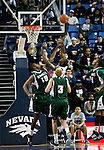 January 14, 2012:   Nevada Wolf Pack guard Malik Story lays the ball up off the glass as Hawai'i Rainbow Warriors Vander Joaquim (15) defends during their NCAA basketball game played at Lawlor Events Center on Saturday night in Reno, Nevada.