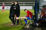 Ben Rhodes of Stocksbridge with ice on his inured ankle. Stocksbridge Park Steels v Pickering Town, Evo-Stik East Division, 17th November 2018. Stocksbridge Park Steels were born from the works team of the local British Steel plant that dominates the town north of Sheffield.<br />