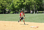 The Bold and the Beautiful Constantine Maroulis and star of Rock of Ages plays in The Broadway Show League (softball) which has teams from the Broadway shows who playing against Phantom on April 29. 2010 and Thursdays throughout the summer in Central Park, New York City, New York. (Photo by Sue Coflin/Max Photos)