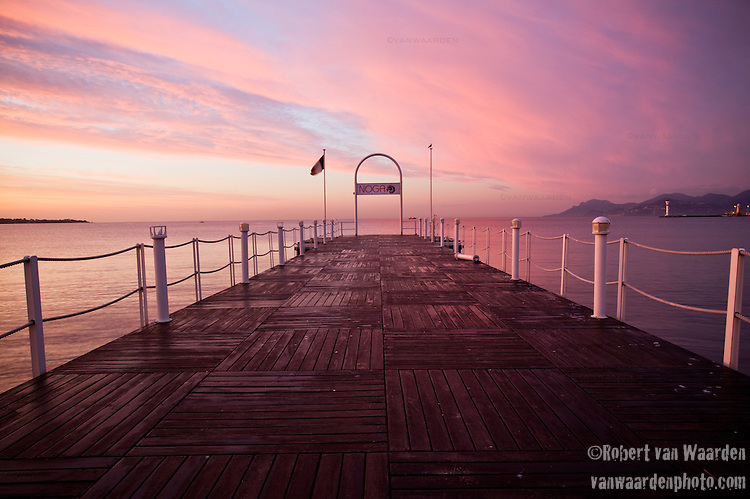 Early morning sunrise in Cannes, France.