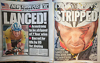 New York daily newspapers on Friday, August 24, 2012 report on seven time Tour de France winner Lance Armstrong being stripped of his medals and awards for allegedly doping during races.  (© Richard B. Levine)