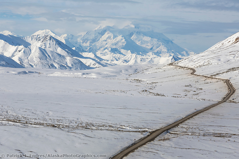 View of the Denali Park Road from Stony Dome, Denali National Park, Alaska