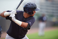 GCL Yankees West first baseman Miguel Flames (62) at bat during the first game of a doubleheader against the GCL Yankees East on July 19, 2017 at the Yankees Minor League Complex in Tampa, Florida.  GCL Yankees West defeated the GCL Yankees East 11-2.  (Mike Janes/Four Seam Images)