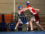 Kian Crosby, Ratoath (Red) and Tony Reilly, Dealgan (Blue) at the Boxing Championships at St. Cianan's Boxing Club, Duleek.<br /> <br /> Photo: Jenny Matthews