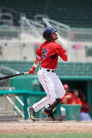 GCL Red Sox third baseman Nicholas Northcut (24) follows through on a swing during a game against the GCL Orioles on August 9, 2018 at JetBlue Park in Fort Myers, Florida.  GCL Red Sox defeated GCL Orioles 10-4.  (Mike Janes/Four Seam Images)