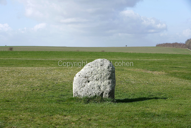 Station Stone, Stonehenge, Neolithic and Bronze Age megalithic monument, 3050 - 1500 BC, Salisbury, Wiltshire, England, UK. Picture by Manuel Cohen