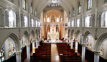 WATERBURY CT. 11 March 2018-031119SV06-An inside view of St. Anne Church in Waterbury Monday. The spires of the church are in need of rebuilding.<br /> Steven Valenti Republican-American
