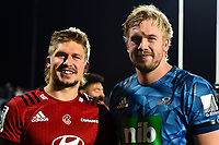 11th July 2020, Christchurch, New Zealand;  Brothers Jack Goodhue of the Crusaders and Josh Goodhue of the Blues during the Super Rugby Aotearoa, Crusaders versus Blues, at Orangetheory Stadium, Christchurch