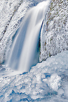 Wahkeena Falls with ice. Columbia River Gorge National Scenic Area. Oregon