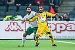 Stockholm 2014-03-04 Fotboll Svenska Cupen Hammarby IF - &Auml;ngelholms FF :  <br /> Hammarbys Stefan Batan i kamp om bollen med &Auml;ngelholms Junes Barny <br /> (Foto: Kenta J&ouml;nsson) Nyckelord:  HIF Bajen &Auml;ngelholm