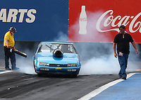 Feb 20, 2015; Chandler, AZ, USA; NHRA super gas driver Clint Fishel does a burnout during qualifying for the Carquest Nationals at Wild Horse Pass Motorsports Park. Mandatory Credit: Mark J. Rebilas-