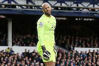 Tim Howard looks dejected during the Barclays Premier League match between Everton and Swansea City played at Goodison Park, Liverpool