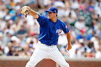 August 9, 2009:  Pitcher John Gaub of the Iowa Cubs delivers a pitch during a game at Wrigley Field in Chicago, IL.  Iowa is the Pacific Coast League Triple-A affiliate of the Chicago Cubs.  Photo By Mike Janes/Four Seam Images