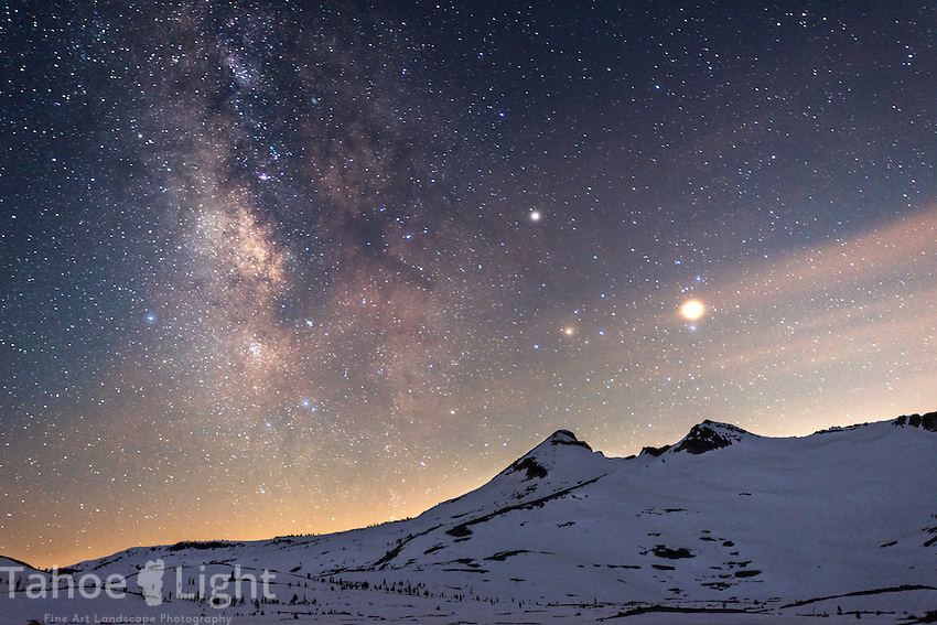 Desolation wilderness backcountry winter trip. Aloha Lake with Pyramid peak and the Milky Way along with the trio of Mars, Saturn and Antares over the peak.